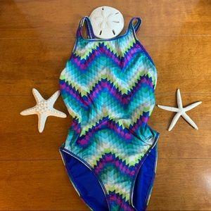 One piece speedo swimsuit size 12/38 high thigh